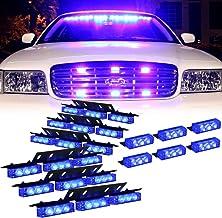 Blue 54X LED Deck Visor Flashing Warning Light for Volunteer Firefighter Vehicles - Interior Emergency Strobe Lights for D...