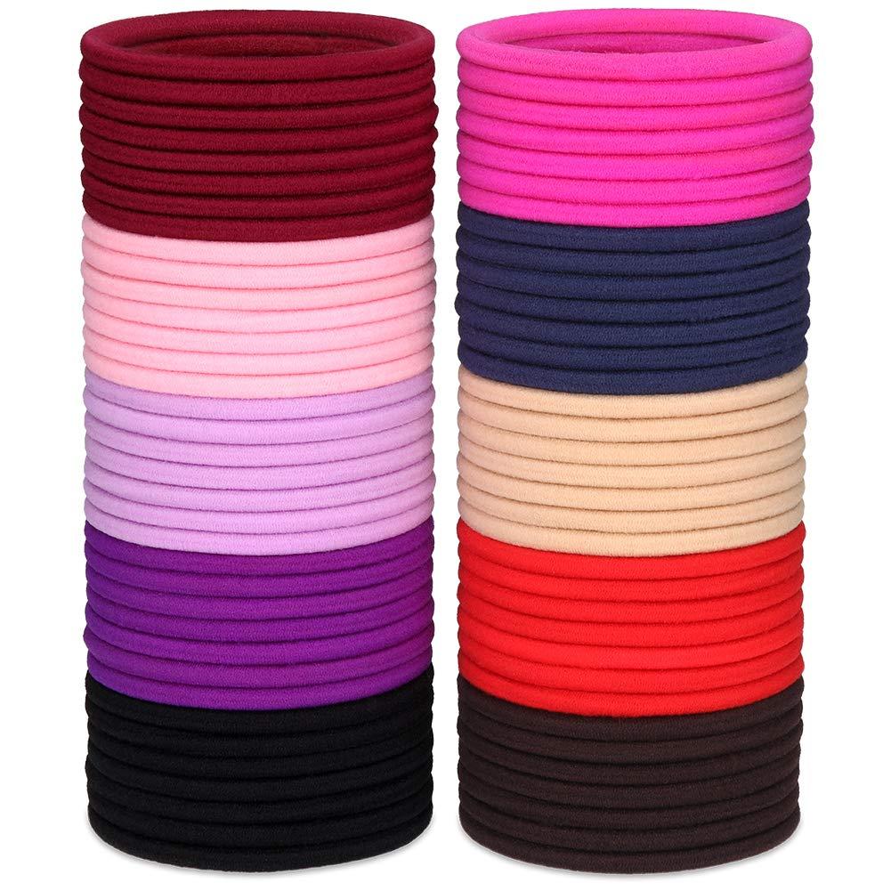 Black 100 Pieces 2mm Elastic Hair Ties Multicolor Elastic Hair Bands Ponytail Holders No Metal Gentle Elastics for Women Girls Kids Men