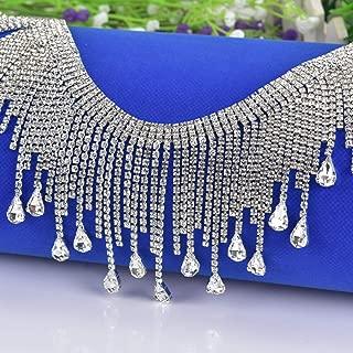 Pawkyjar 0.5 Yard Rhinestone Chain Bridal Trim Fringe Crystal Clear Applique Silver (0.5 Yard)