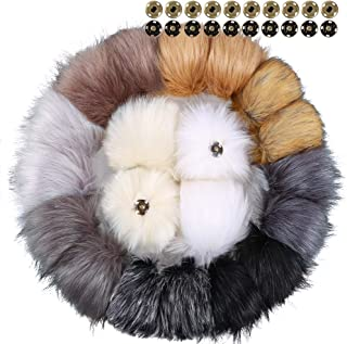 Auihiay 20 Pieces Faux Fur Pom Poms Ball Removable Fluffy Pompoms with Press Button for Knitting Hat Shoes Scarves Bag Accessories (Mix Color, 10 cm)
