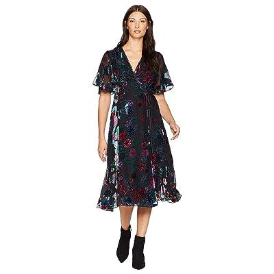 Hale Bob Sheer Bliss Silk/Rayon Velvet Burnout Margurite Dress (Black) Women