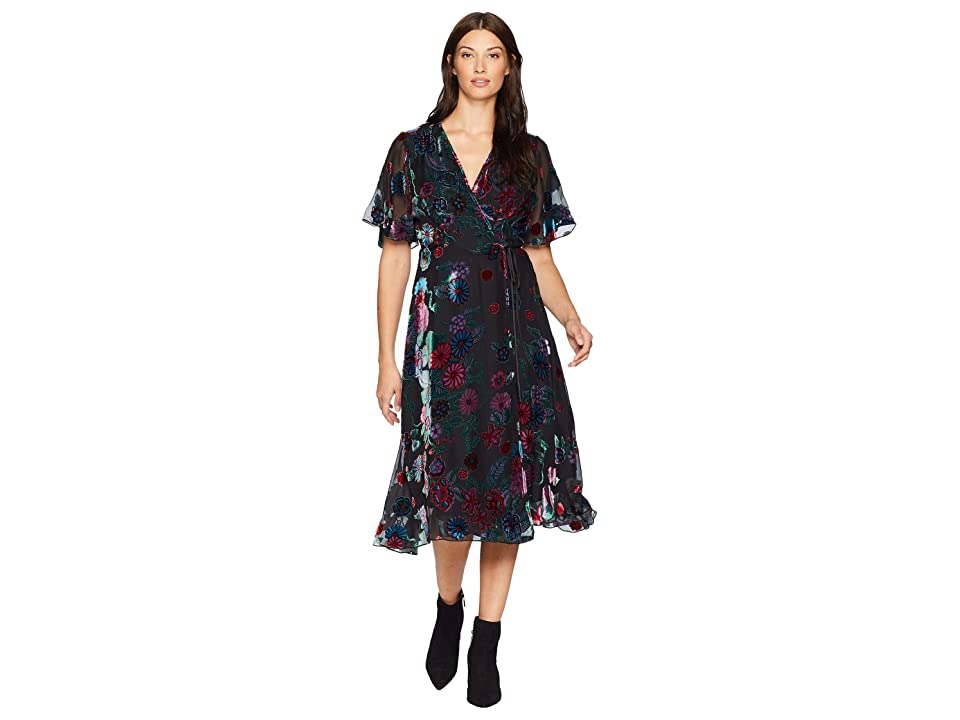 Hale Bob Sheer Bliss Silk/Rayon Velvet Burnout Margurite Dress (Black) Women