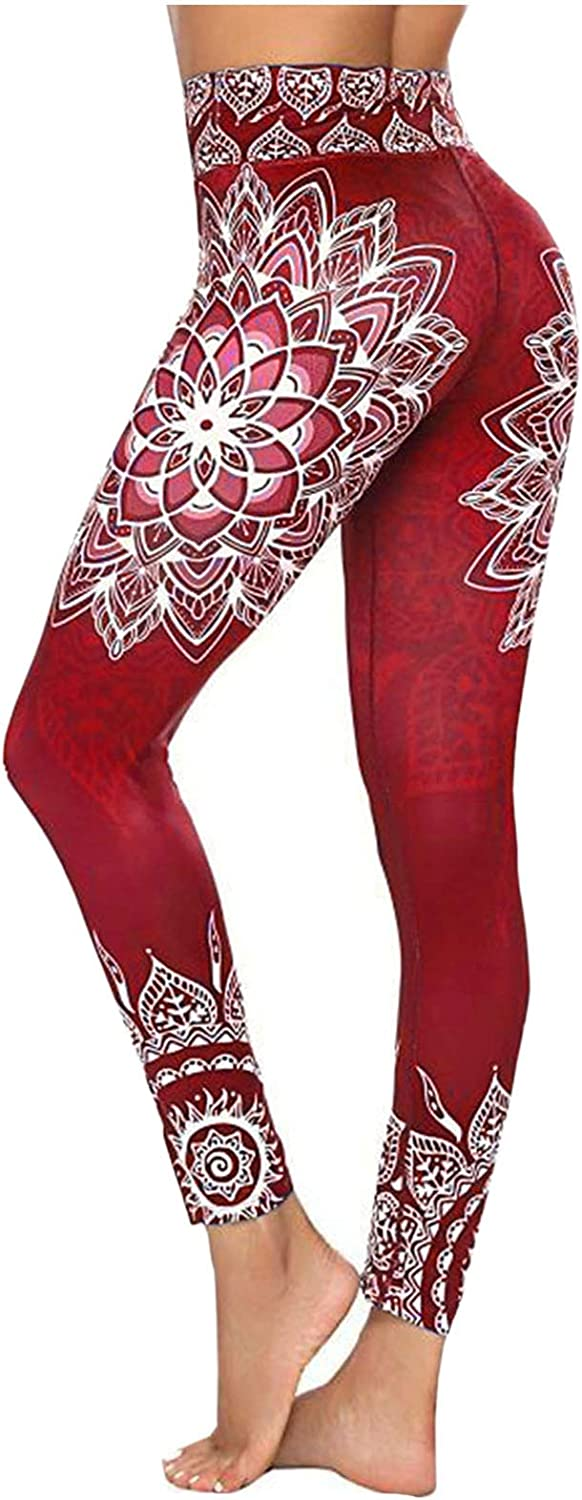 Yoga Sports Pants Embroidery Flower Print Workout Leggings Fitness Sports Running Athletic Pants