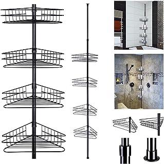 Yescom 4 Tier Bathroom Metal Corner Shelf Caddy Adjustable Telescopic Wall Rack Basket Storage Organizer Black