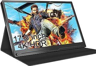 17.3 '' ポータブル 4K ゲームモニター HDR 3840×2160 狭いベゼル 外部モニター IPSディスプレイ USB-Ctoc/Type-C/HDMI付き 内蔵スピーカー、ラップトップPC MAC電話Xbox PS4スイッチ