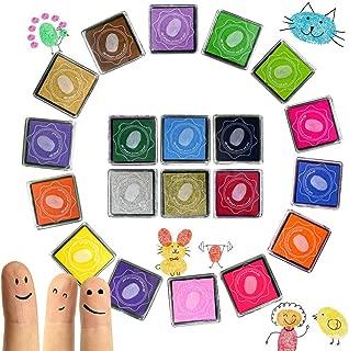 Juego de almohadillas de tinta de 20 colores, Sellos de tinta para pintar con huellas dactilares para arte artesanal Tarjeta de bricolaje Diseños de boda, Almohadillas de tinta no tóxicos, 4cm * 4cm