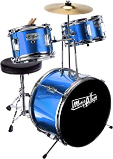 Music Alley 3 Piece Kids Drum Set with Throne, Cymbal, Pedal & Drumsticks, Blue, (DBJK02)