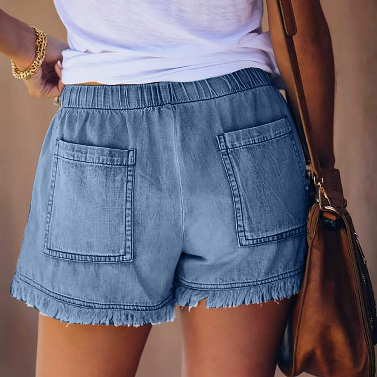 Women's Mid Rise Rolled Hem Casual Ripped Denim Shorts Summer Beach Floral Shorts Frayed Jeans