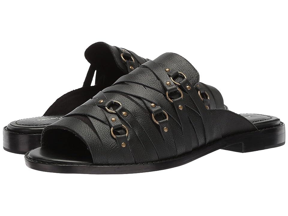Kelsi Dagger Brooklyn Slope Flat Sandal (Black Leather) Women