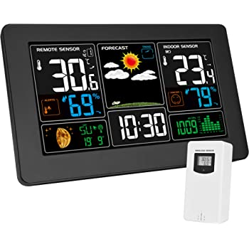 Kalawen Weather Station with Outdoor Indoor Sensor, MSF Wireless Digital Alarm Clock, Barometer, Temperature, Humidity Monitor, Weather Forecast for Home Garden
