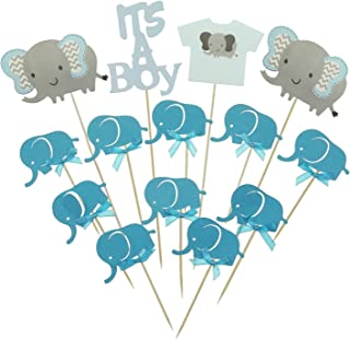 d0a35862f30de Shxstore Gray and Blue Elephant Cake Cupcake Topper Picks For It s A Boy  Baby Shower Birthday