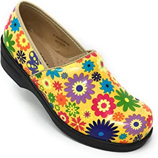 Rasolli Women's Professional Closed Back Clogs, Flower Power