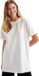 DeFacto Tuniek met korte mouwen voor dames, oversized shirt met korte mouwen, tuniek voor vrouwen