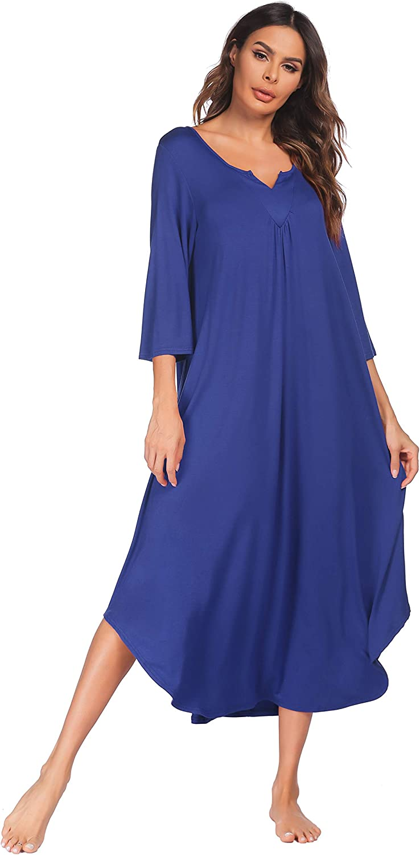 Ekouaer Nightgowns Long 3/4 Sleeve Lounge Dress Women Plus Size Loungewear V neck loose Full Length maxi Sleepshirt