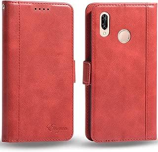 Huawei p20 lite ケース 手帳型 ファーウェイp20 lite カバー 財布型 マグネット式 横置き機能 カード収納 ストラップ通し穴 高級PUレザー Engun ファーウェイp20ライト用 レッド