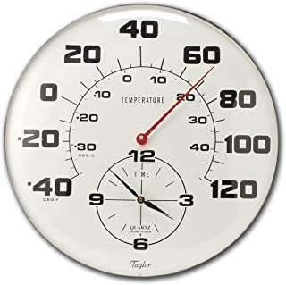 Taylor Precision Products Patio Thermometer and Clock (18-Inch)