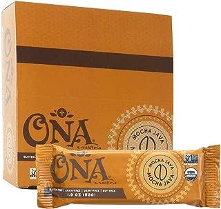 Mocha Java Bar by Ona, Caffeinated Chocolate Snack Bars, Paleo, Organic, Gluten Free (12 Pack)