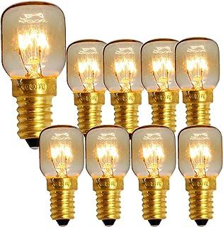 Paquete de 10 SES E14 Tapón de rosca Lámparas pigmeas 300 grados Horno de microondas Bombilla de luz Bombillas de lámpara de sal (Brass 25w)