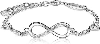 ELEGANZIA Infinity Love أساور للنساء بنات الفضة الاسترليني مجوهرات زركون ، سلسلة قابلة للتعديل مع سحر القلب ، هدية للصديقة