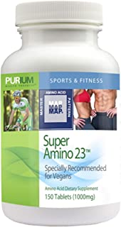 Purium Super Amino 23-150 Vegan Tablets - BCAA & Essential Amino Acid Dietary Supplement, Pre Workout, Recovery Aid, May H...