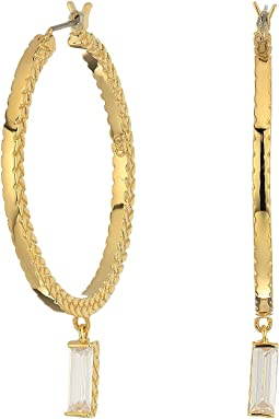 Cole Haan - Metal Hoop with Cubic Zirconia Baguette Drop Earrings