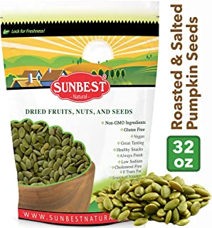 SUNBEST NATURAL Pumpkin Seeds, Dry Roasted with Sea Salt in Resealable Bag, 2 Lb (32 Ounce)