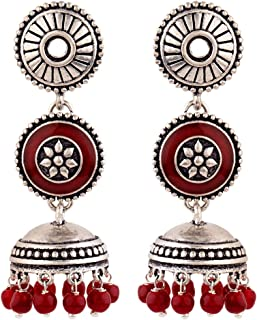 Voylla Rangabati Layered Maroon Beads Earrings Jewellery For Women