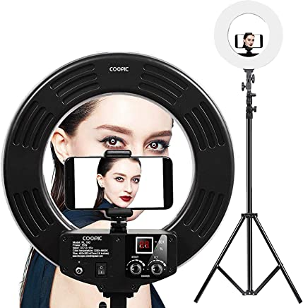 COOPIC RL-18D Bio-Color 3200K- 5600K Dimmable Ring Video Light (18 inches/46 centimeters Outer, 55W, 2048 Pieces LeD SMD) Black