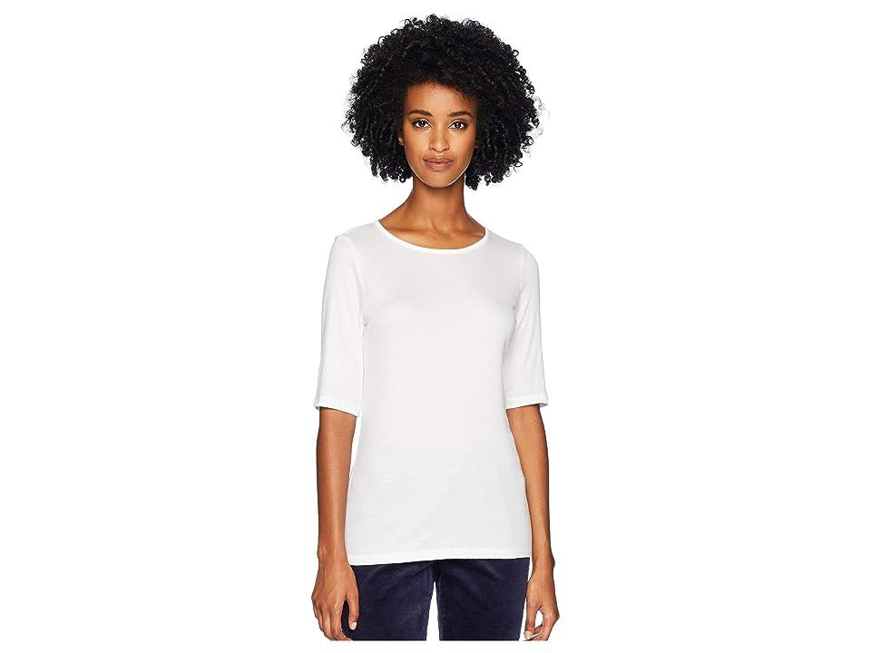 Eileen Fisher Jewel Neck Elbow Sleeve Long Top (White) Women