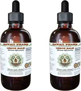 Lemon Balm Alcohol-FREE Liquid Extract, Lemon Balm (Melissa officinalis) Dried Leaf Glycerite Hawaii Pharm Natural Herbal Supplement 2x2 oz
