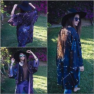 Kimono para mujer corto chaqueta negro abierto boho cardigan de mujer de vestir estampado fiesta de Constelaciones y Estre...