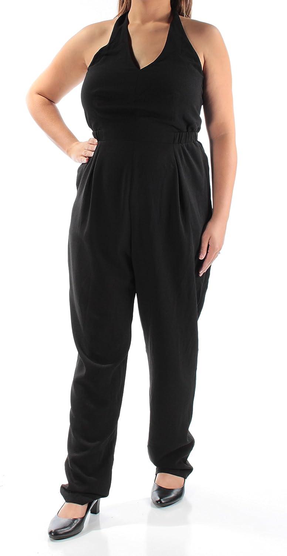 Bar III Womens Halter Open Back Jumpsuit Black XXL