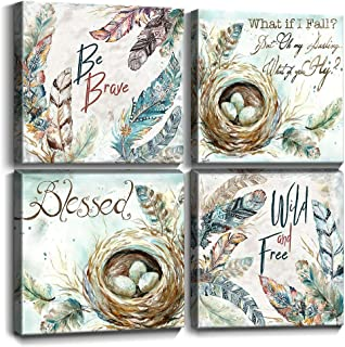 Feathers Wall Decor Inspirational Quote Canvas Prints Wall Art Nordic Style Cyan Fresh Bird Nest Eggs Pictures Framed Artwork Painting Posters Bathroom Modern Home Decoration Set 4 Panels 12x12 Inch