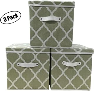 "3 Set Fabric Storage Bins -Removable Lids -Leather Handles -11x11x11"" - Collapsible/Stackable -Grey/White; USES: Storage Cube organizer, Book, Sports Toy box Clothes Baby Basket; Home, Nursery, Office"