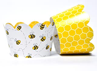 Honey Bee Cupcake Wrappers for Gender Reveal, Birthday Parties, Bridal Showers, Baby Showers, or Backyard Summer gatherings. Set of 24 Honey Bee Scalloped Cup Cake Holder Wraps. Yellow, Black