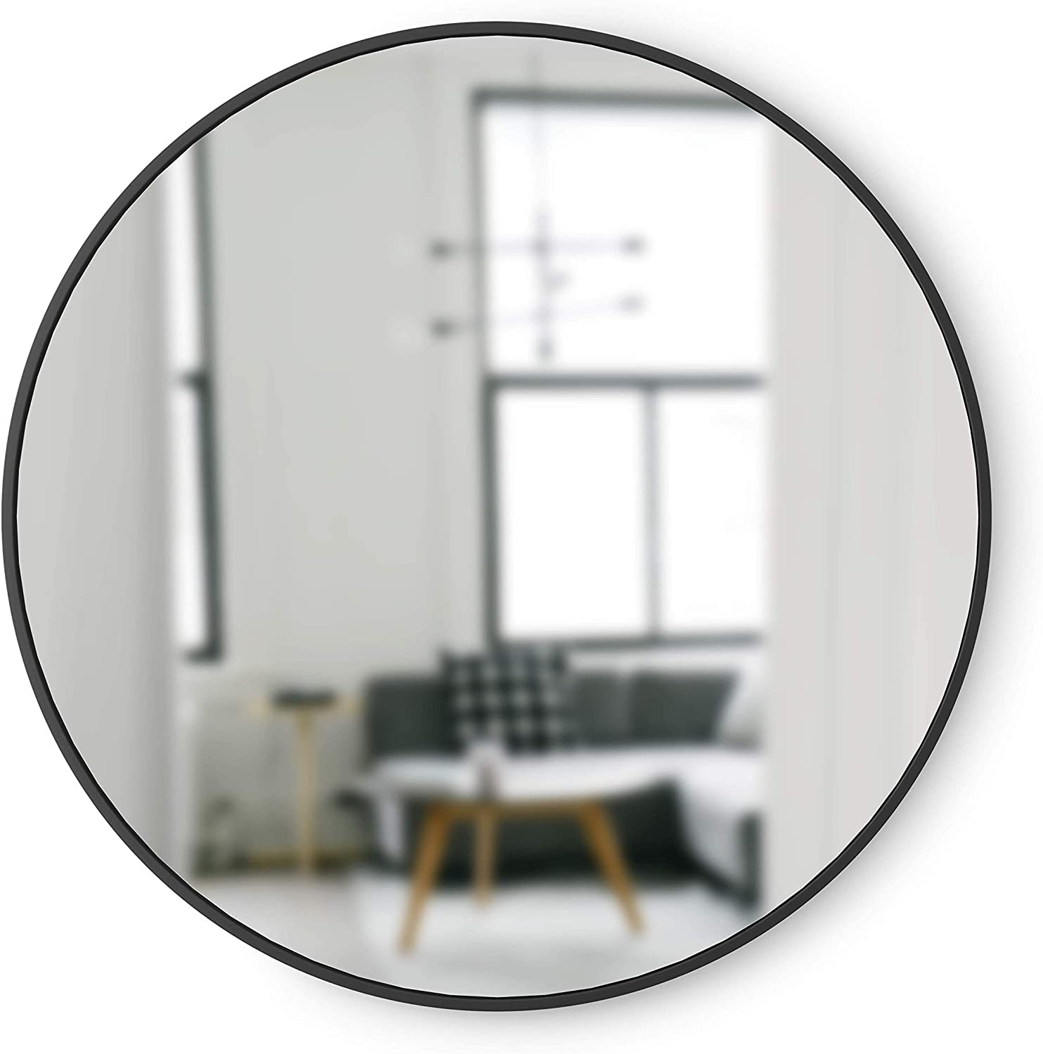 Umbra Hub Rubber Frame, Wall Mirror for Entryways, Bathrooms, Living Rooms and More, 37-Inch, Black