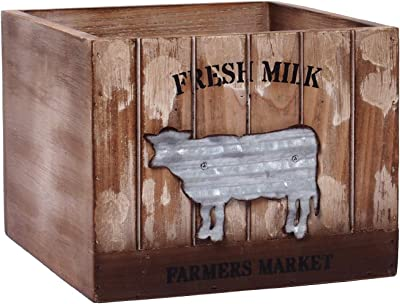 Hosley 7.5 Inch Galvanized Cow Milk Country Americana Pattern Planter Ideal for Wedding or Special Occasion or for Dried Floral Arrangements W1