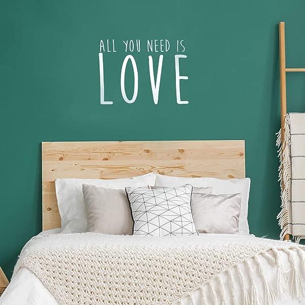 夫妻卧室乙烯基墙贴艺术贴你只需要爱 16x23 家居装饰爱引用语录可移除墙贴卧室装饰情侣签名 16x23 白色