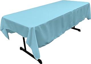 "LA Linen Polyester Poplin 60 by 90"" Rectangular Tablecloth, Light Turquoise"