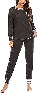 Veseacky Conjunto de pijama de manga larga para mujer, de algodón suave, con bolsillos, S-XXL