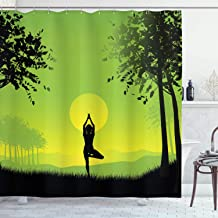 Ambesonne Yoga Shower Curtain, Meditating Lady Under Sunset Sky in Forest Serenity Balance Soul Nature Art, Cloth Fabric Bathroom Decor Set with Hooks, 75 Long, Green Black