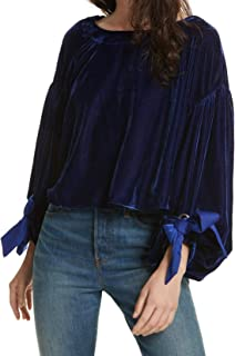 Free People Women's Small Velvet Tie-Sleeve Blouse Blue S