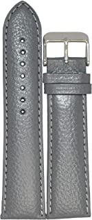 Kolet® 20mm Padded Grain Leather Watch Strap/Watch Band (Grey - 20mm {Size Chart Provided in 3rd Image})