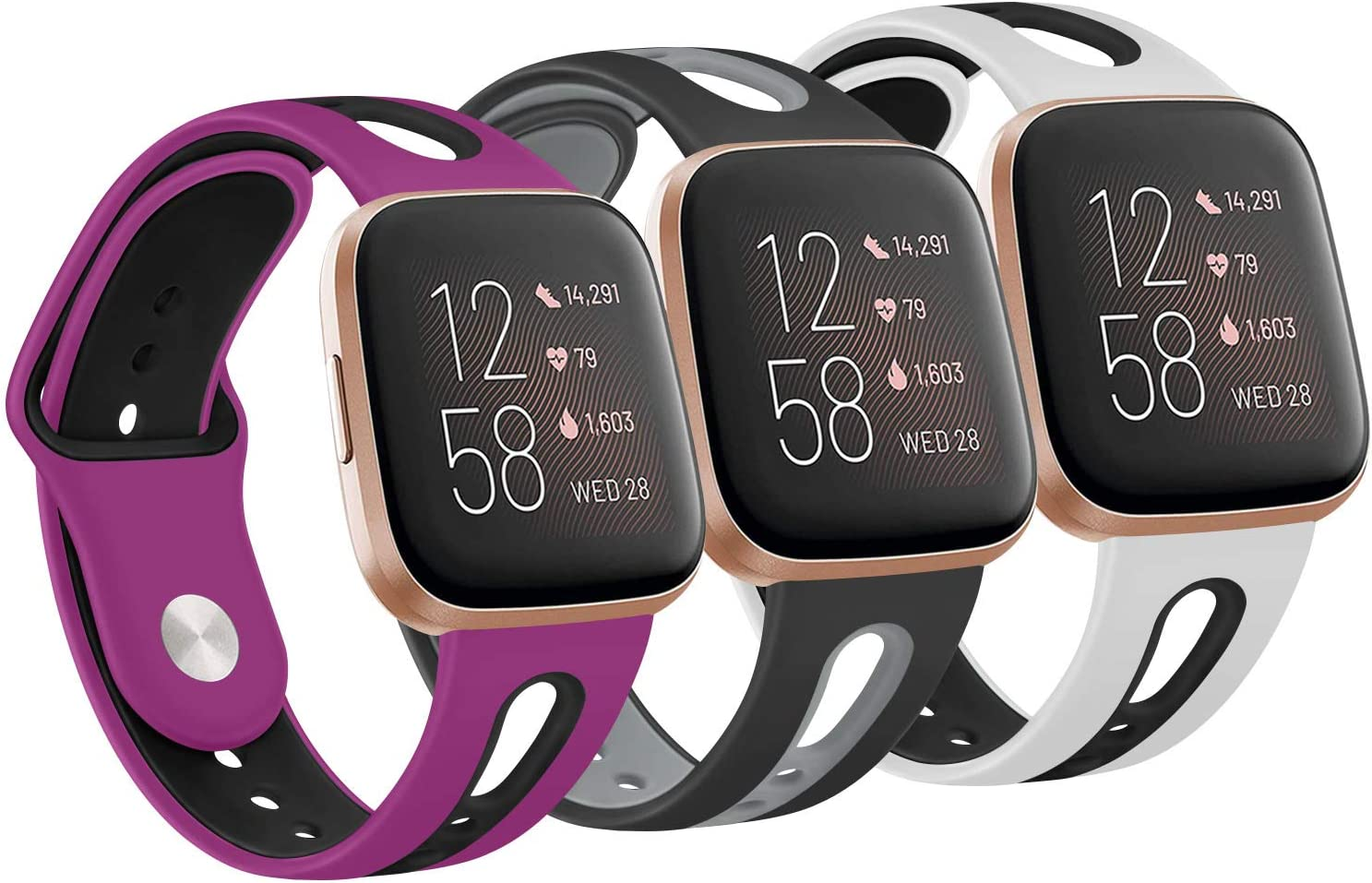 [PACK 3] Silicone Bands Compatible with Fitbit Versa 2 / Fitbit Versa/Versa Lite/Versa SE, Soft Breathable Replacement Wristbands Accessories for Women Men (Small, White/Black+Black/Gray+Purple/Black)