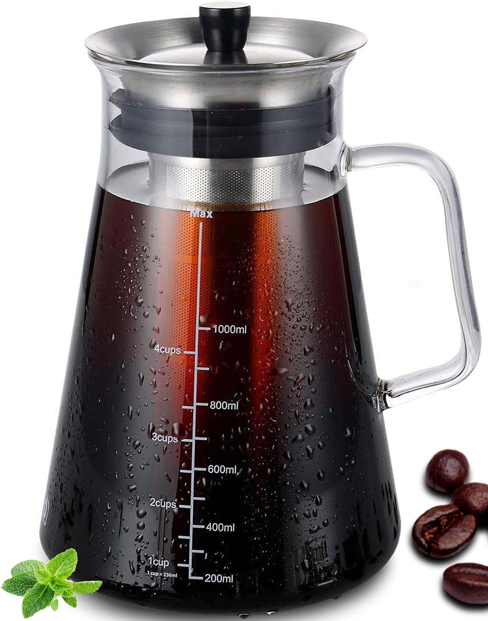 Aquach Cold Brew Coffee Maker 34oz (1L) with Hand-Blown Glass Pitcher, Stainless Steel Filter Removable, for Iced Coffee & Cold Brew Tea. Airtight Lid / Dishwasher Safe