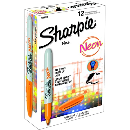 Sharpie Fine Neon Permanent Marker - Orange, Pack of 12