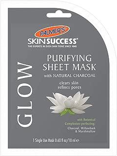 Palmer's Skin Success Glow Purifying Charcoal Sheet Mask | 0.60 Ounce Single Use Mask (Pack of 6)