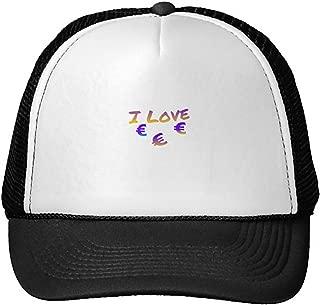 Unisex Adult Trucker Cap -Euro I Love Letter Art Trucker Hat Black