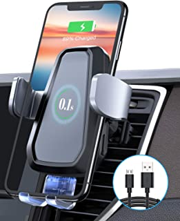VANMASS Qi Wireless Car Charger Mount, Automatic Clamping, 10W/7.5W Fast Charging, Air Vent Motorized Cell Phone Holder fo...