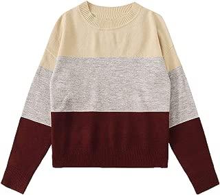 SweatyRocks Women's Color Block Striped Crew Neck Long Sleeve Pullover Knit Sweater